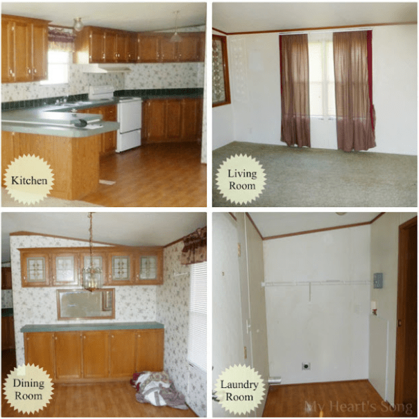 Before pictures of a mobile home renovation
