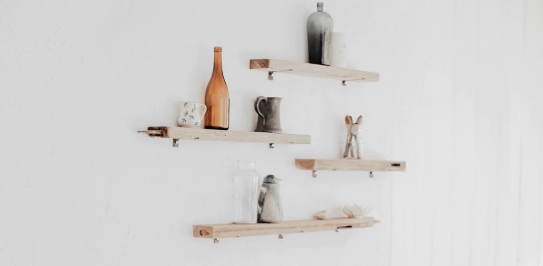 Shelves with household objects