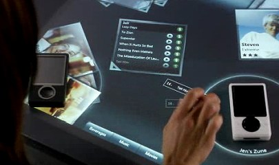 Microsoft Courier concept allows objects to be placed on the surface and identified.