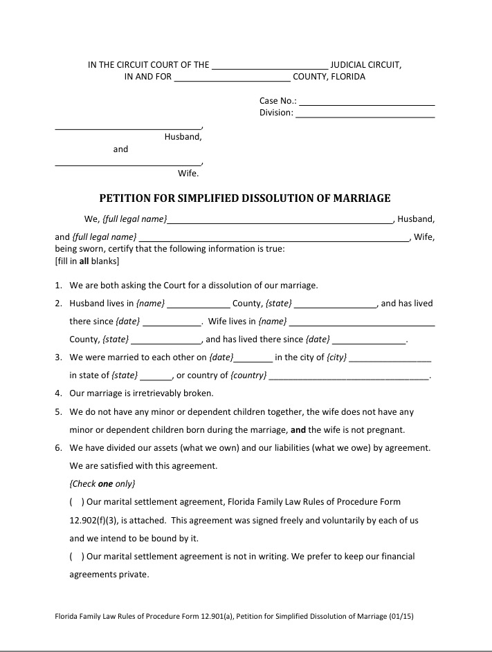 Petitions For Simplified Dissolution Of Marriage Broward Mobile Notary