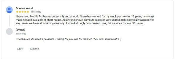 A 5 star testimonial from The Lakes Care Centre