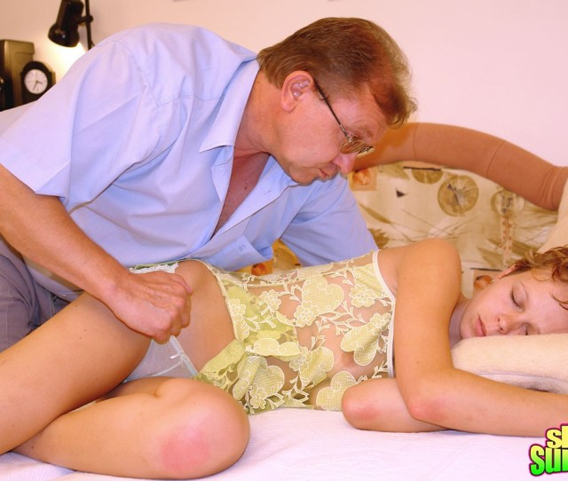 Horny Senior Sticks His Big Cock In His Sleeping Teen Maid