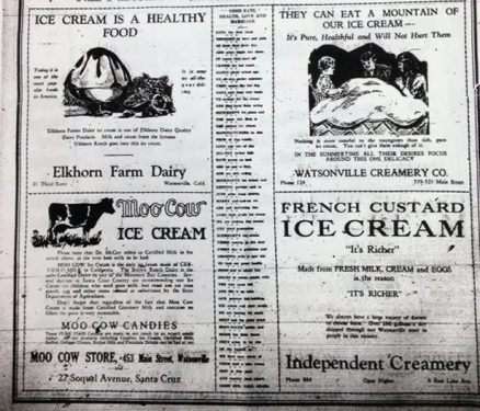 Four ads for Santa Cruz ice creameries. Image: Santa Cruz Museum of Art and HIstory.