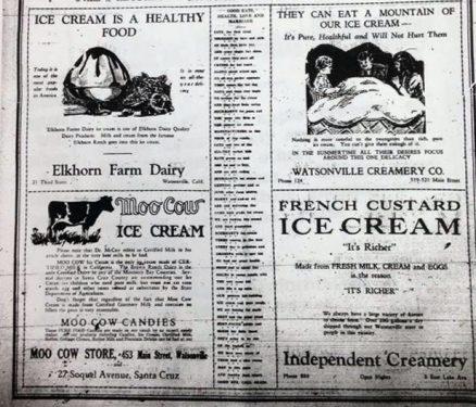 Four ads for Santa Cruz ice creameries. Image: Santa Cruz Museum of Art and HIstory.