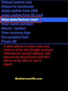 Hard Reset - Wipe data/factory Reset option