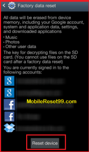 Mobile Factory Reset - Reset Phone option