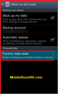 Mobile Factory Reset - Factory data Reset option