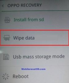 oppo wipe data option - Hard Reset