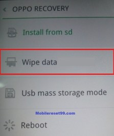 oppo wipe data option - Hard Reset