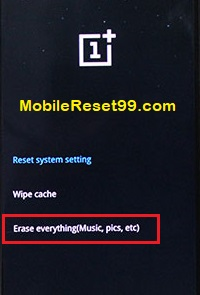 OnePlusHard reset-erase everything option