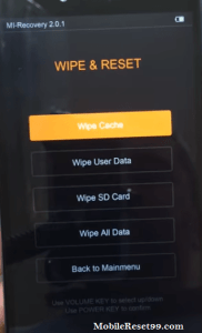 Xiaomi mi wipe all data
