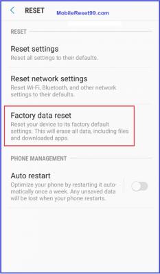 Samsung Factory reset - Factory data reset option