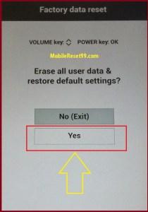 LG Hard Reset Yes option