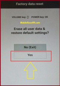 LG Hard Reset Yes option