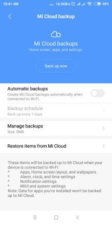 Mi cloud backup