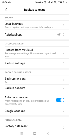 Redmi 4 Prime Backup & reset