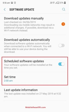 Samsung Scheduled Software update