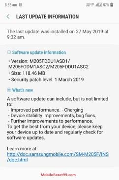 Samsung last software update information