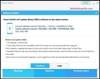 Software update samsung smart switch