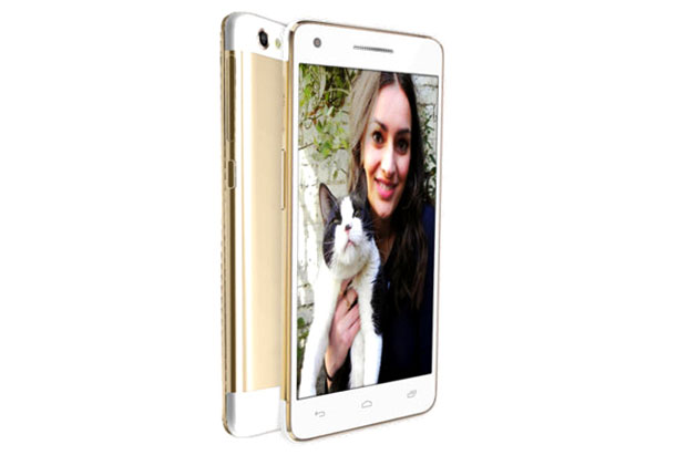 Micromax Canvas 4 Plus gold and white