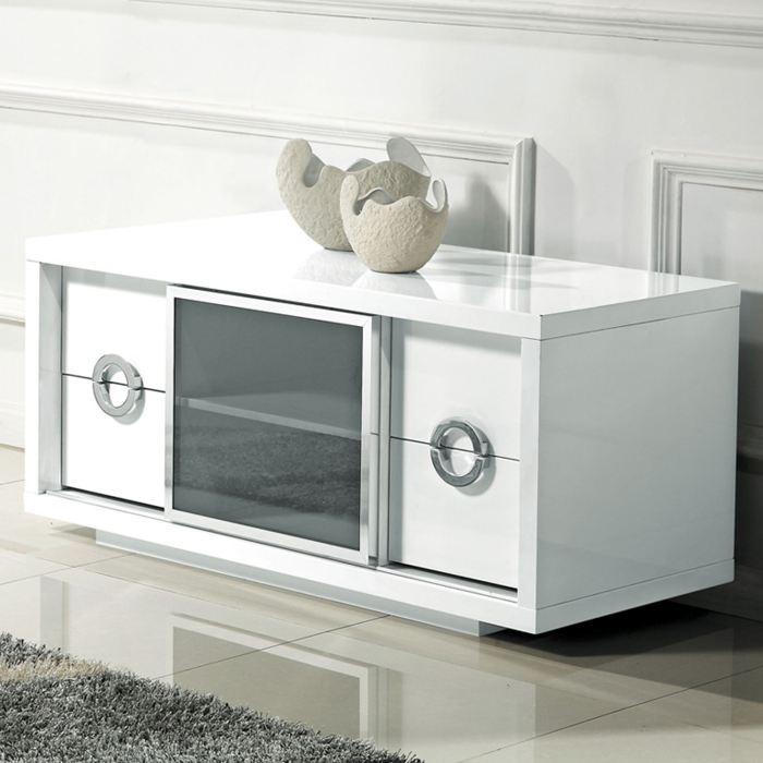 Meuble Tv Haut Blanc Laque