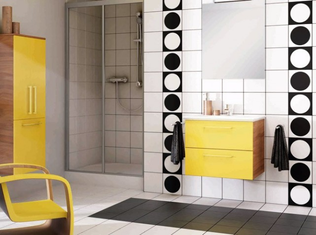 meuble salle de bain jaune moutarde