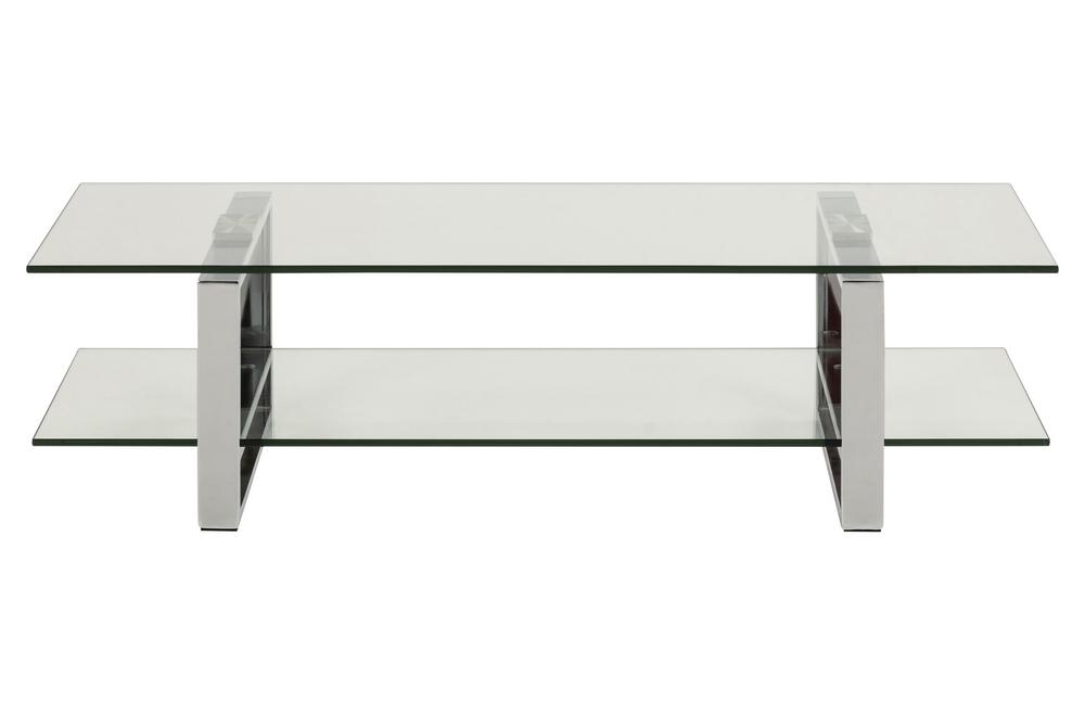 meuble tv design en verre et acier chrome de qualite katy
