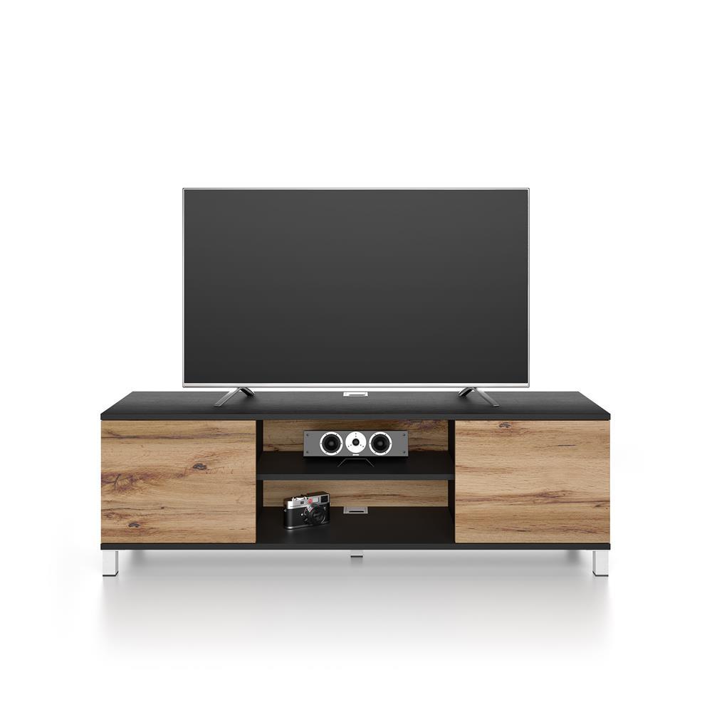 meuble tv rachele frene noir bois rustique