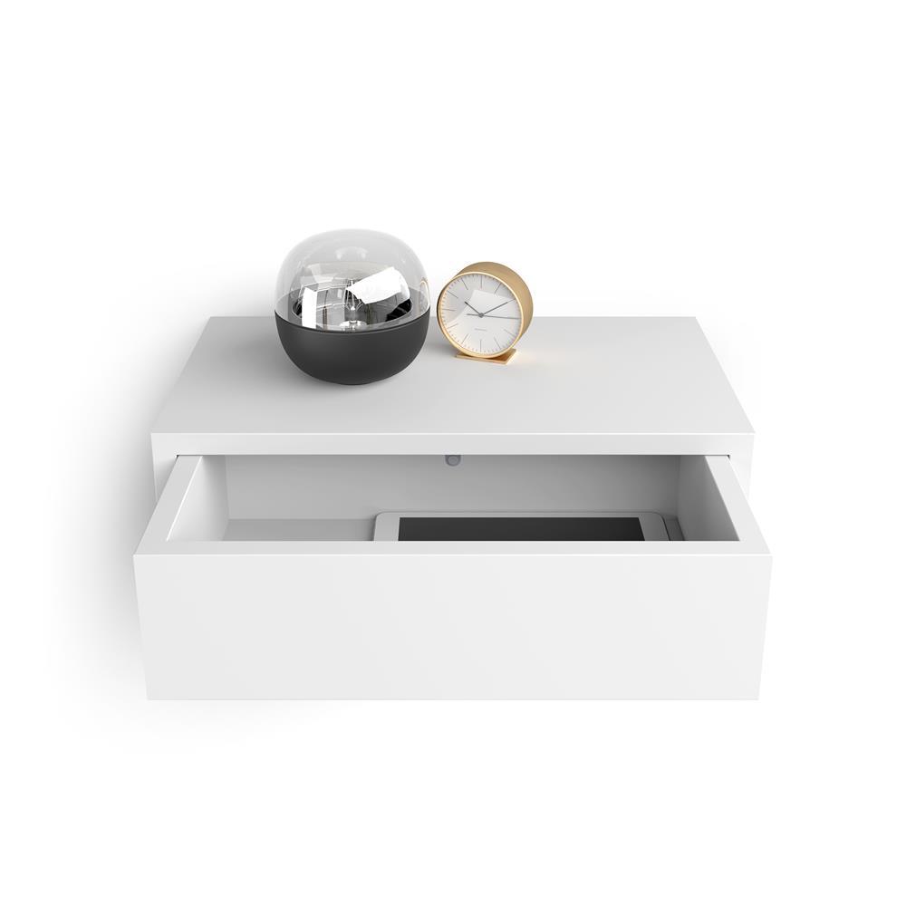 table de chevet suspendue riccardo blanc mat