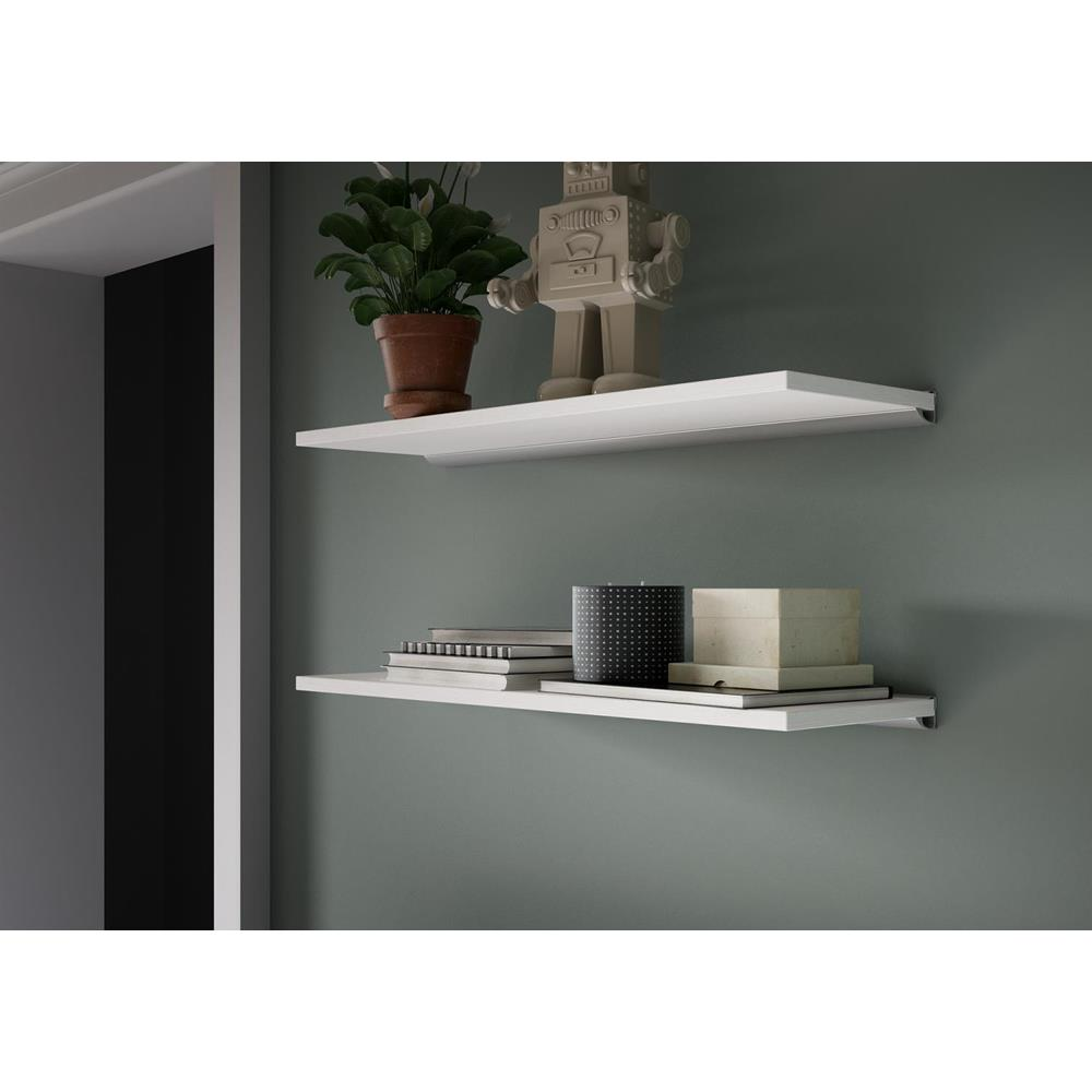 paire d etageres evolution 80x25 cm blanc laque brillant avec support en aluminium blanc