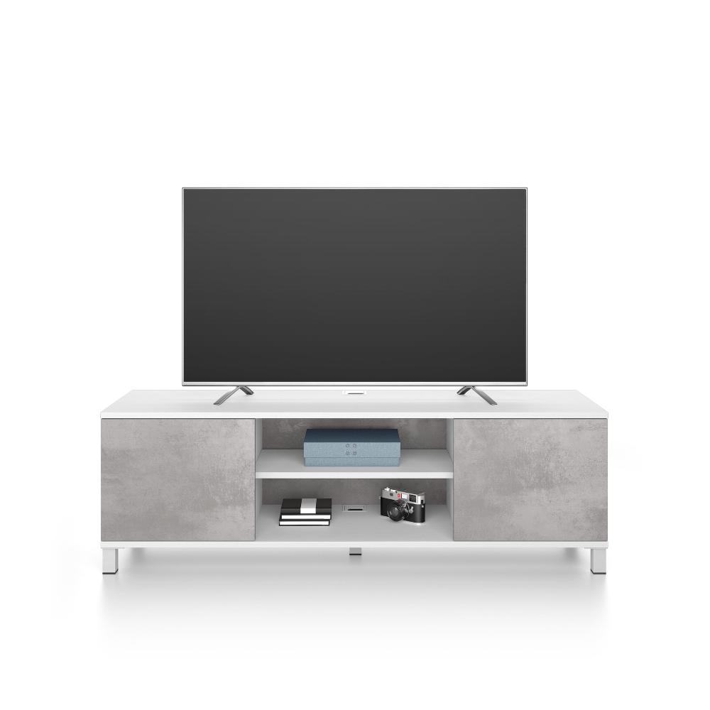 meuble tv rachele frene blanc gris beton