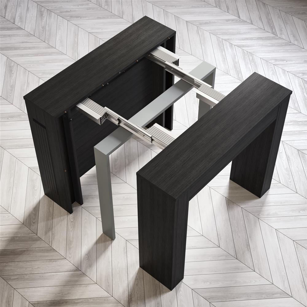table console extensible avec rallonges integrees easy frene blanc