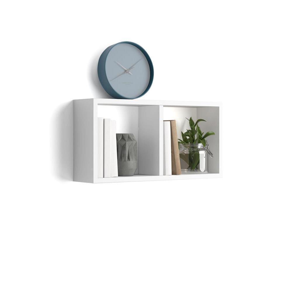 cube mural 59x30 cm first en melamine blanc laque brillant