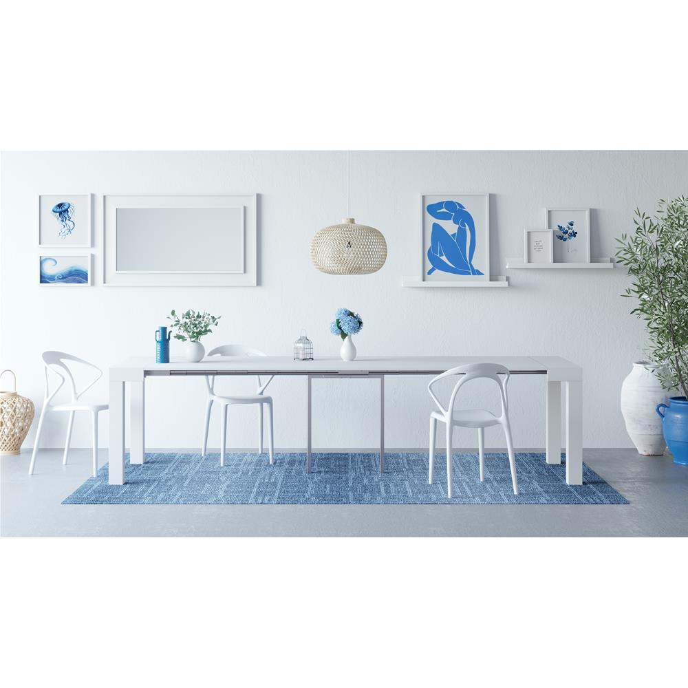 extendable console table first white ash