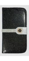 BLACK GLITTER FLOWER FLAP DIAMOND WALLET IPHONE 6/6S