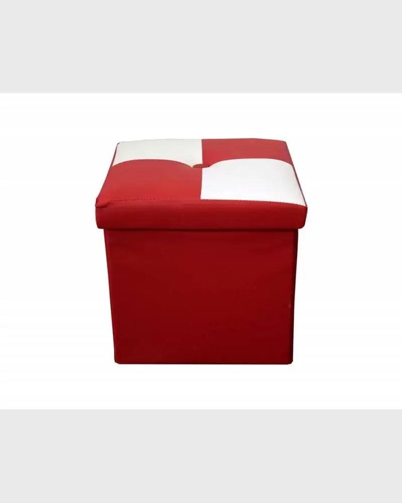pouf de rangement moderne a carreaux blanc et rouge mobili rebecca