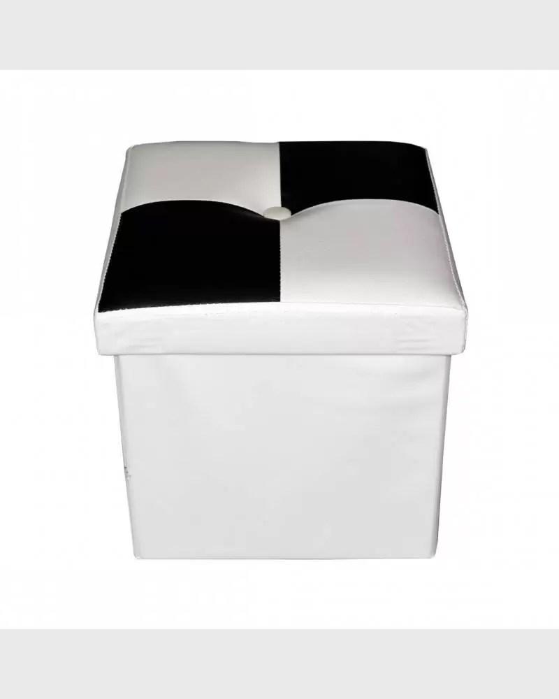Mobili Rebecca Pouffe Coffre De Rangement Noir Blanc Faux