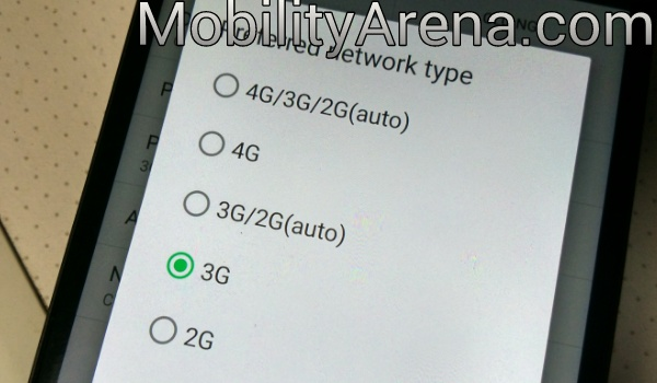 network mode selection menu
