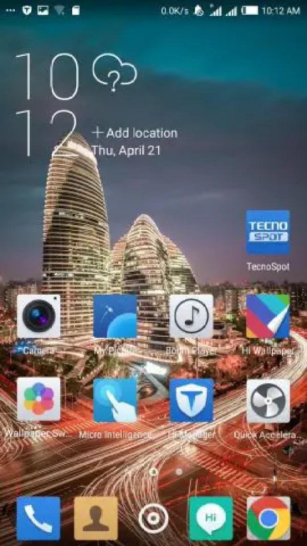 TECNO Camon C8 Marshmallow Homescreen
