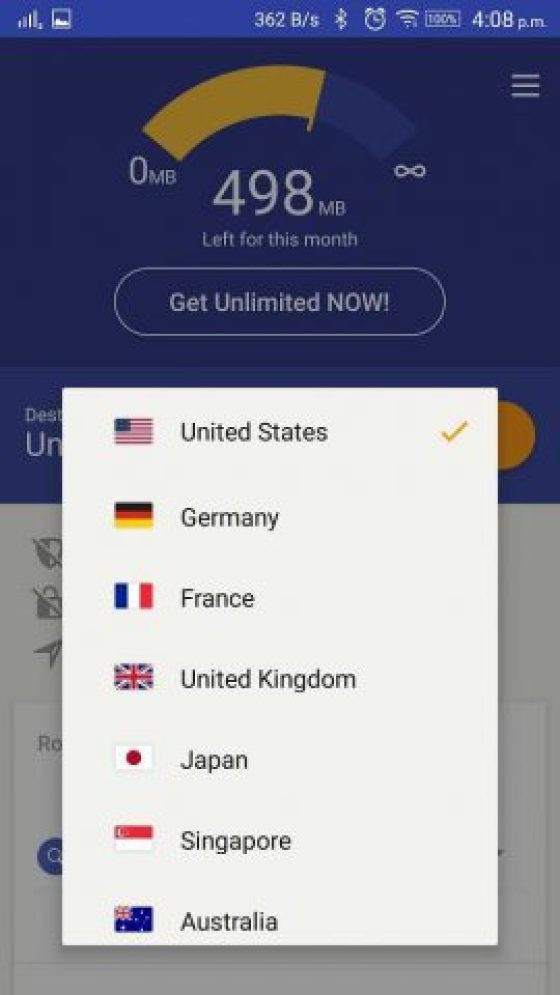 Rocket VPN for Android select location