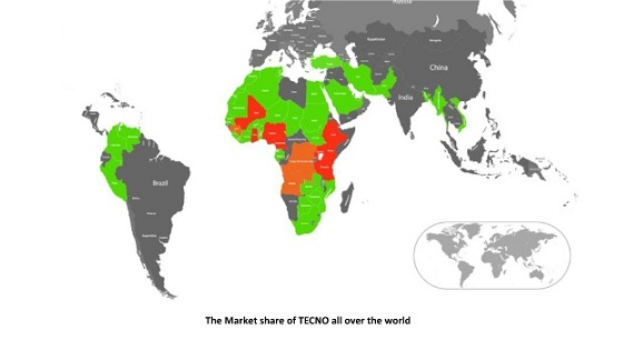 market share of TECNO Mobile globally