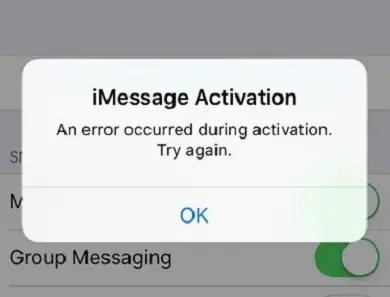 iMessage activation error