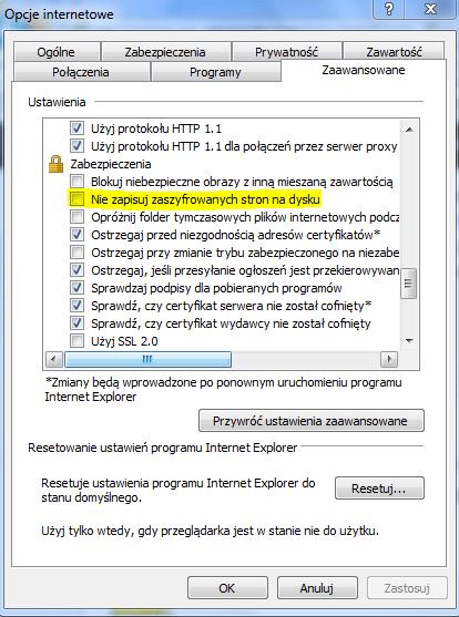 Opcja nie zapisuj zaszyfrowanych stron na dysku