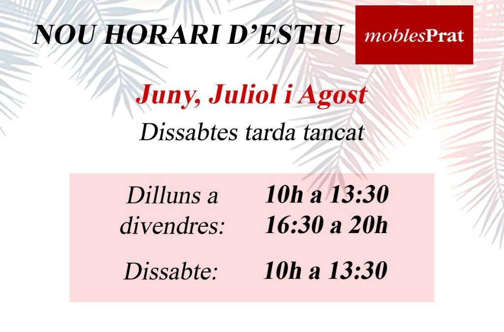 NOU HORARI D'ESTIU – DISSABTES TARDE TANCATS