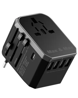 MXUA01 Faster Universal Travel Adapter 4 Ports & Type C – Black