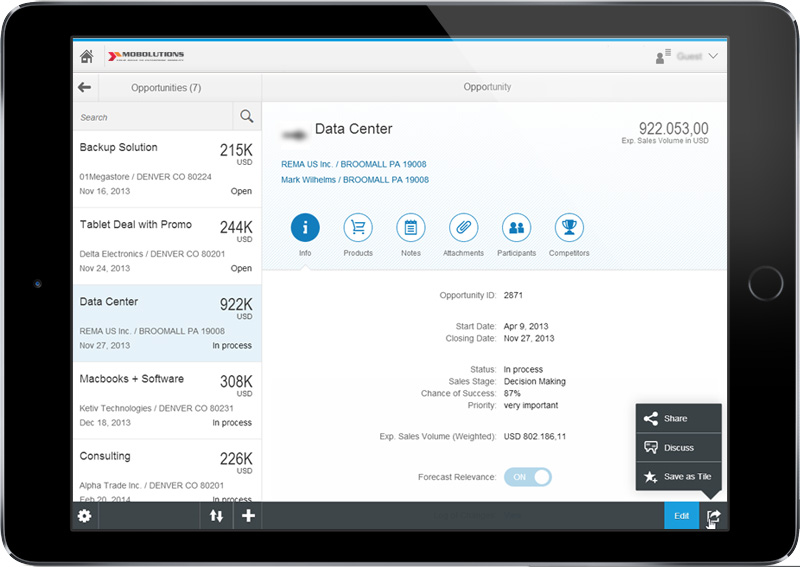 SAP Fiori - My Opportunities App Screen