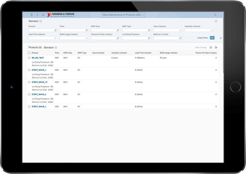 Fiori Mass Maintenance of products App - SAP PM Fiori App