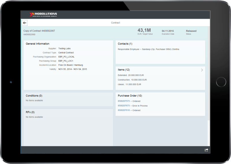 Fiori Central Purchase Contract App Screen | Fiori SRM App
