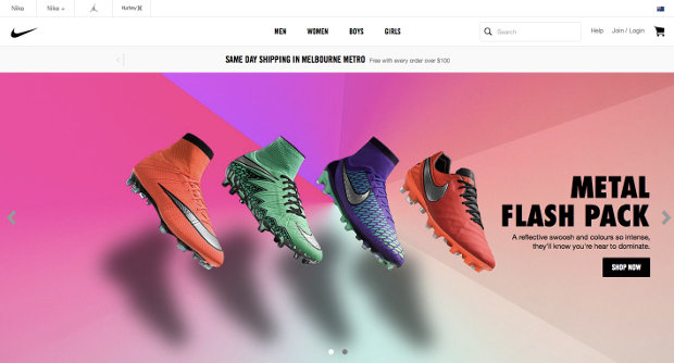 Nike Store Australia website screenshot