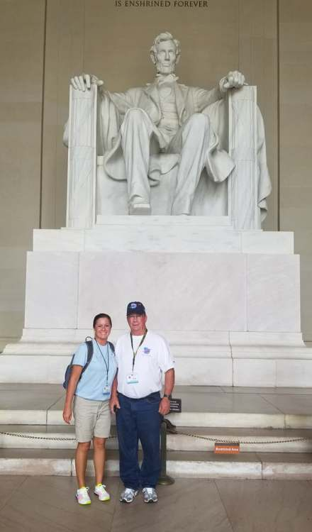 Dena and her father in Washington, DC.